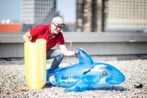Fluxbag hat einen Wasserspiel-Delfin aufgeblasen